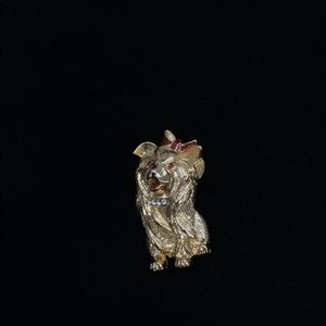 Gold Yorky W Red Bow & Jeweled Collar Brooch